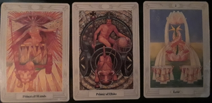 Prince of Disks; Prince of Wands, 2 of Cups, Love